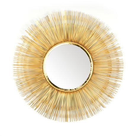 wonenmetlef Mirror Sonny brass gold glass iron Ø80cm