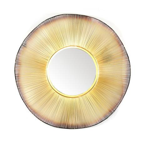 wonenmetlef Spiegel Quinn brass goud glas ijzer Ø80cm