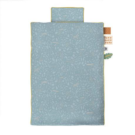 Sebra Housse de couette Wildlife Junior en coton bleu 100x140cm - Taie d'oreiller incluse 40x45cm