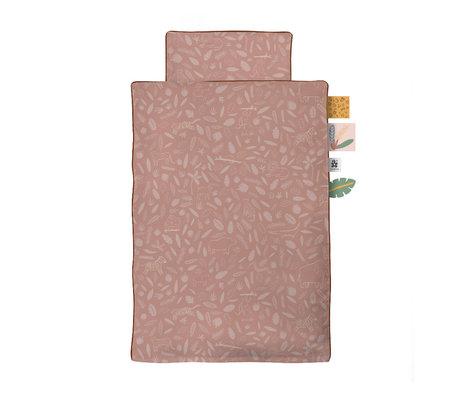 Sebra Dekbedovertrek Wildlife Baby roze katoen 70x100cm - incl. kussensloop 40x45cm