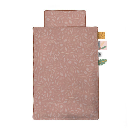 Sebra Duvet cover Wildlife Baby pink cotton 70x100cm - incl. Pillowcase 40x45cm