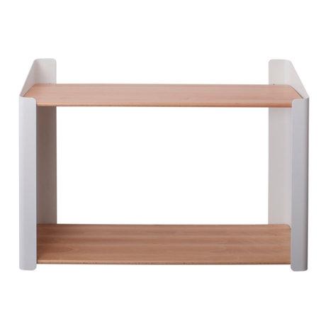 Sebra Wall shelf Double brown white wood metal 60x20.4x44cm