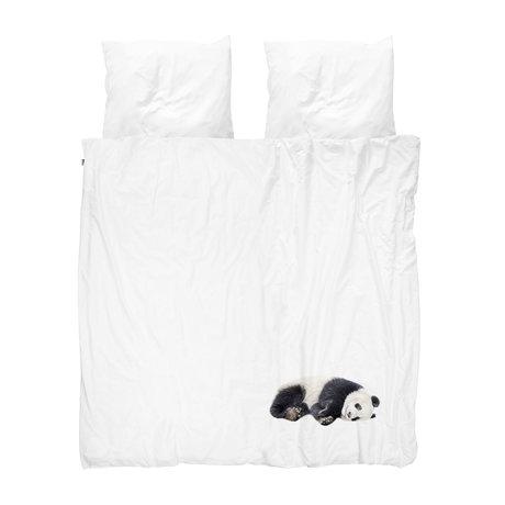 Snurk Beddengoed Housse de couette Lazy Panda flanelle noire et blanche 200x200 / 220cm