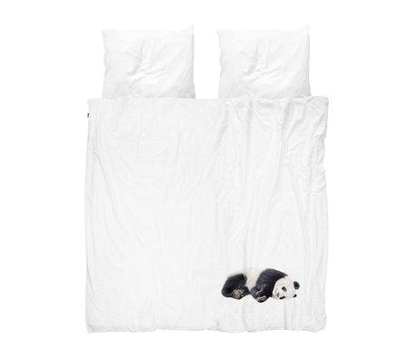Snurk Beddengoed Housse de couette Lazy Panda flanelle noire et blanche 240x200 / 220cm