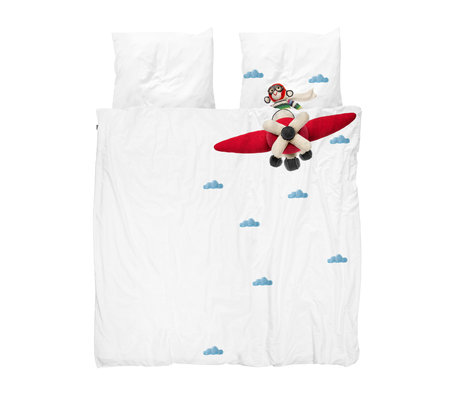 Snurk Beddengoed Housse de couette Airplane Monkey en coton multicolore 240x200 / 220cm
