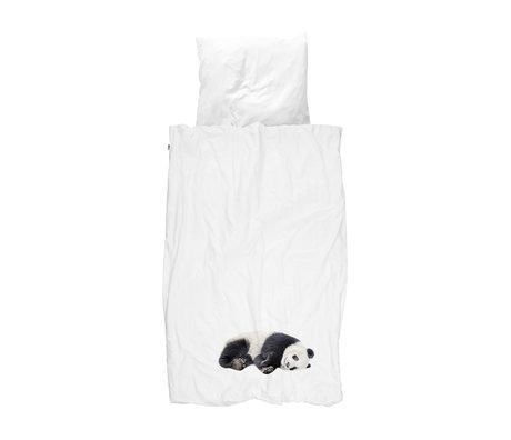 Snurk Beddengoed Housse de couette Lazy Panda flanelle noire et blanche 140x200 / 220cm