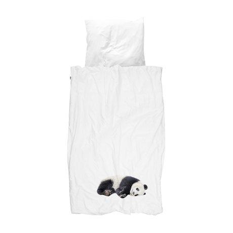 Snurk Beddengoed Dekbedovertrek Lazy Panda zwart wit flanel 140x200/220cm