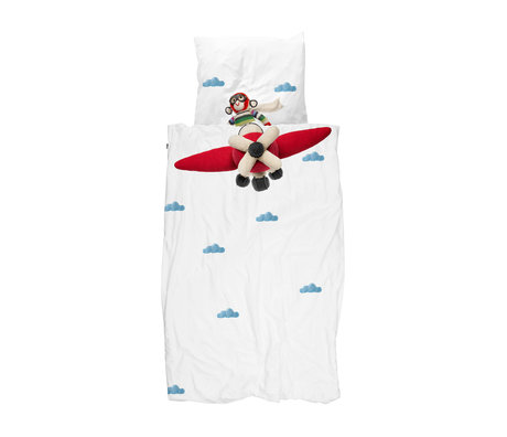 Snurk Beddengoed Housse de couette Avion Singe multicolore en coton 140x200 / 220cm
