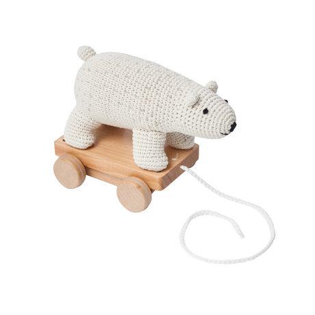 Sebra Animal de trait Ours blanc en bois textile blanc 26x13x22cm