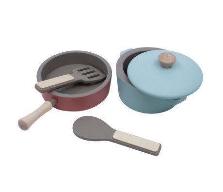Sebra Set de cuisine mini bois multicolore set de 4