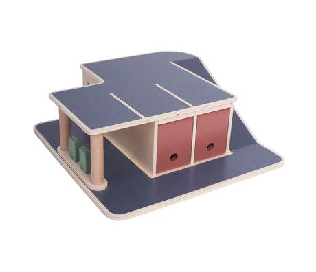 Sebra Garage de jouets multicolore bois 56x55x15.2cm