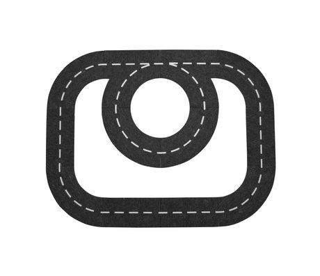 Sebra Autobahn schwarz und weiß Filz 113x87cm