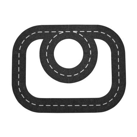 Sebra Highway black and white felt 113x87cm