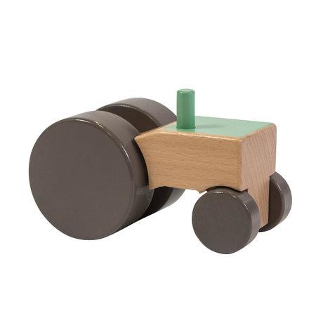 Sebra Traktor grün mehrfarbiges Holz 13,2x7,1x8,2 cm