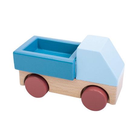 Sebra Camion bleu en bois multicolore 14x7x9cm