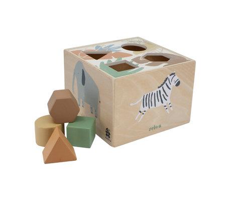 Sebra Formpuzzle Wildlife mehrfarbiges Holz 14x14x10cm