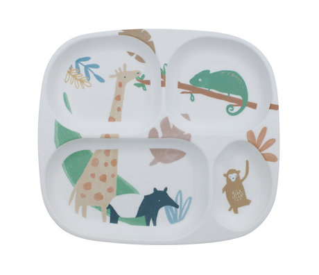 Sebra Children's plate four compartments Wildlife white multicolour melamine 24x21x2cm