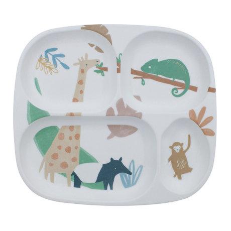 Sebra Assiette pour enfant quatre compartiments Mélamine multicolore Wildlife 24x21x2cm