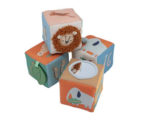 Sebra Fabric blocks Wildlife Mehrfarbentextil 4er-Set