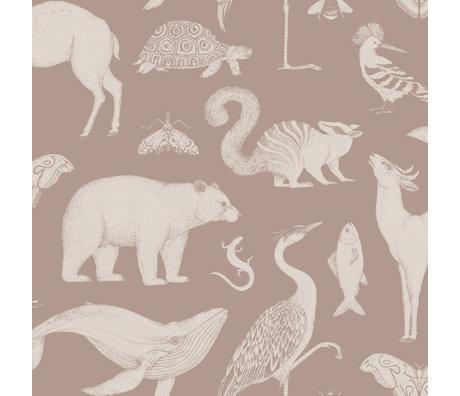 Ferm Living Wallpaper Katie Scott Tiere staubig rosa 10x0.53m