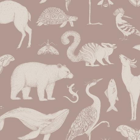 Ferm Living Papier peint Katie Scott Animaux rose poussiéreux 10x0.53m