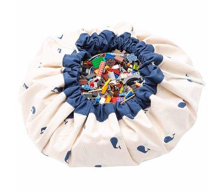 Play & Go sac de rangement / tapis de jeu Whale en coton bleu-vert menthe ø140cm