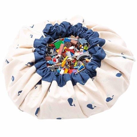 Play & Go storage bag / play mat Whale mint green blue cotton ø140cm