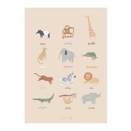 Sebra Poster Wildlife multicolore papier 50x70cm