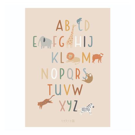 Sebra Poster Alphabet de la faune papier multicolore 50x70cm