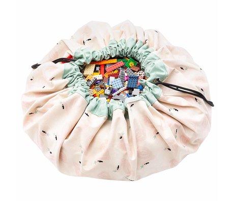 Play & Go sac de rangement / tapis de jeu Swan en coton multicolore ø140cm