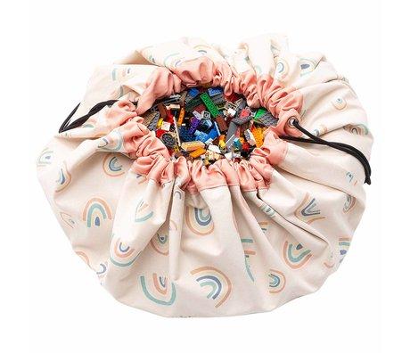 Play & Go Aufbewahrungstasche / Spielteppich Rainbows Coral Pink Cotton ø140cm