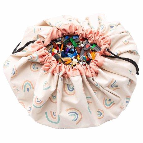 Play & Go sac de rangement / tapis de jeu Rainbows coton rose corail ø140cm