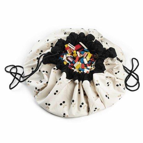 Play & Go sac de rangement / tapis de jeu Golden Cherry or coton noir ø140cm