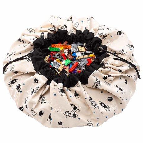 Play & Go sac de rangement / tapis de jeu Space_ glow dans le coton noir bleu pétrole ø140cm