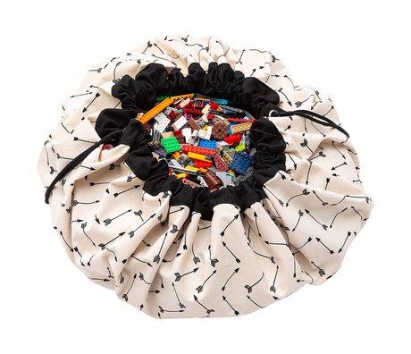 Play & Go sac de rangement / tapis de jeu Arrows coton crème noir ø140cm