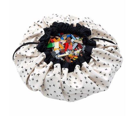 Play & Go sac de rangement / tapis de jeu Crosses en coton crème noir ø140cm