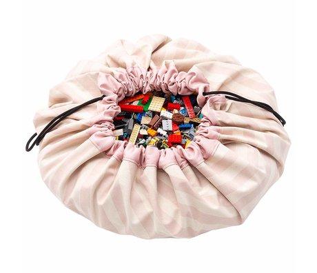Play & Go sac de rangement / tapis de jeu Stripes ø140cm rose clair en coton rose