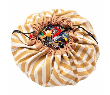Play & Go sac de rangement / tapis de jeu en coton rayé jaune moutarde ø140cm