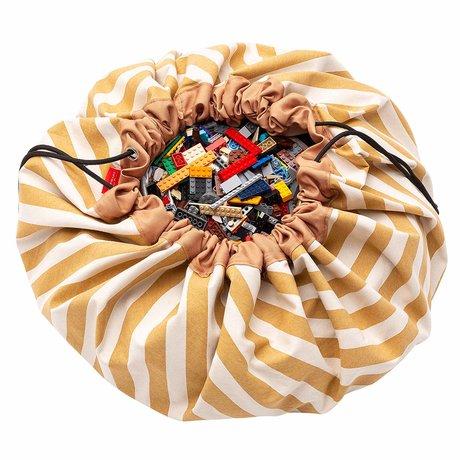 Play & Go opbergzak/speelkleed Stripes Mustard geel katoen ø140cm