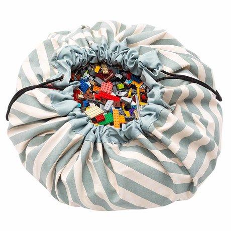 Play & Go opbergzak/speelkleed Stripes Green groen katoen ø140cm