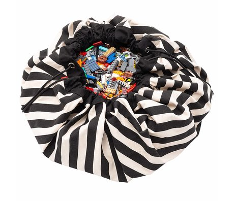 Play & Go sac de rangement / tapis de jeu Stripes Black black cotton ø140cm