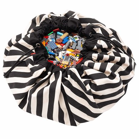 Play & Go storage bag / play mat Stripes Black black cotton ø140cm