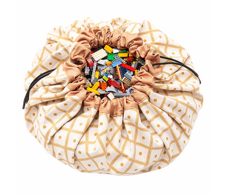 Play & Go sac de rangement / tapis de jeu en coton jaune ø140cm jaune moutarde