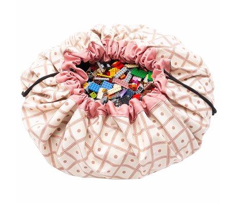 Play & Go sac de rangement / tapis de jeu en coton rose ø140cm Geo Corral
