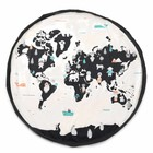 Play & Go opbergzak/speelkleed Worldmap pastel zwart crème katoen ø140cm