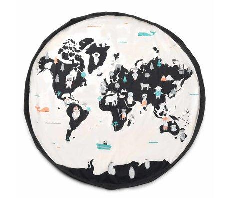 Play & Go sac de rangement / tapis de jeu Worldmap pastel noir crème coton ø140cm