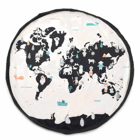 Play & Go Aufbewahrungstasche / Spielmatte Worldmap pastell schwarz creme Baumwolle ø140cm