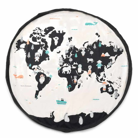 Play & Go storage bag / play mat Worldmap pastel black cream cotton ø140cm