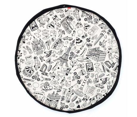 Play & Go opbergzak/speelkleed Color My bag OMY PARIS zwart crème katoen ø140cm
