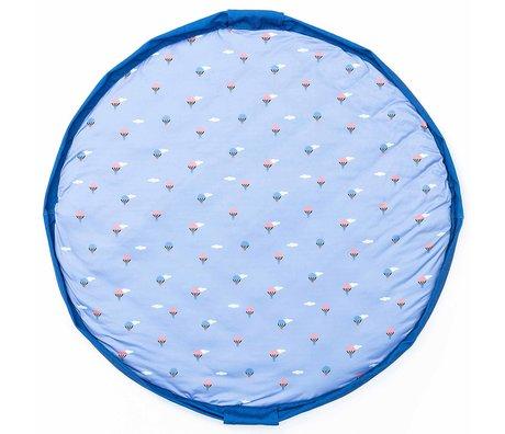 Play & Go opbergzak/speelkleed/luiertas Air Balloon soft blauw rood jersey katoen ø120cm